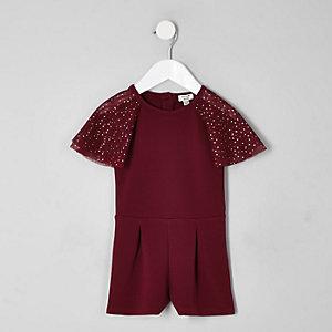 Mini girls burgundy mesh sleeve playsuit