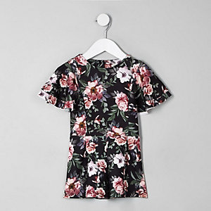 Mini girls black floral frill romper