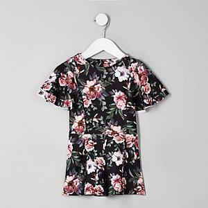 Combi-short à fleurs noir avec volants mini fille