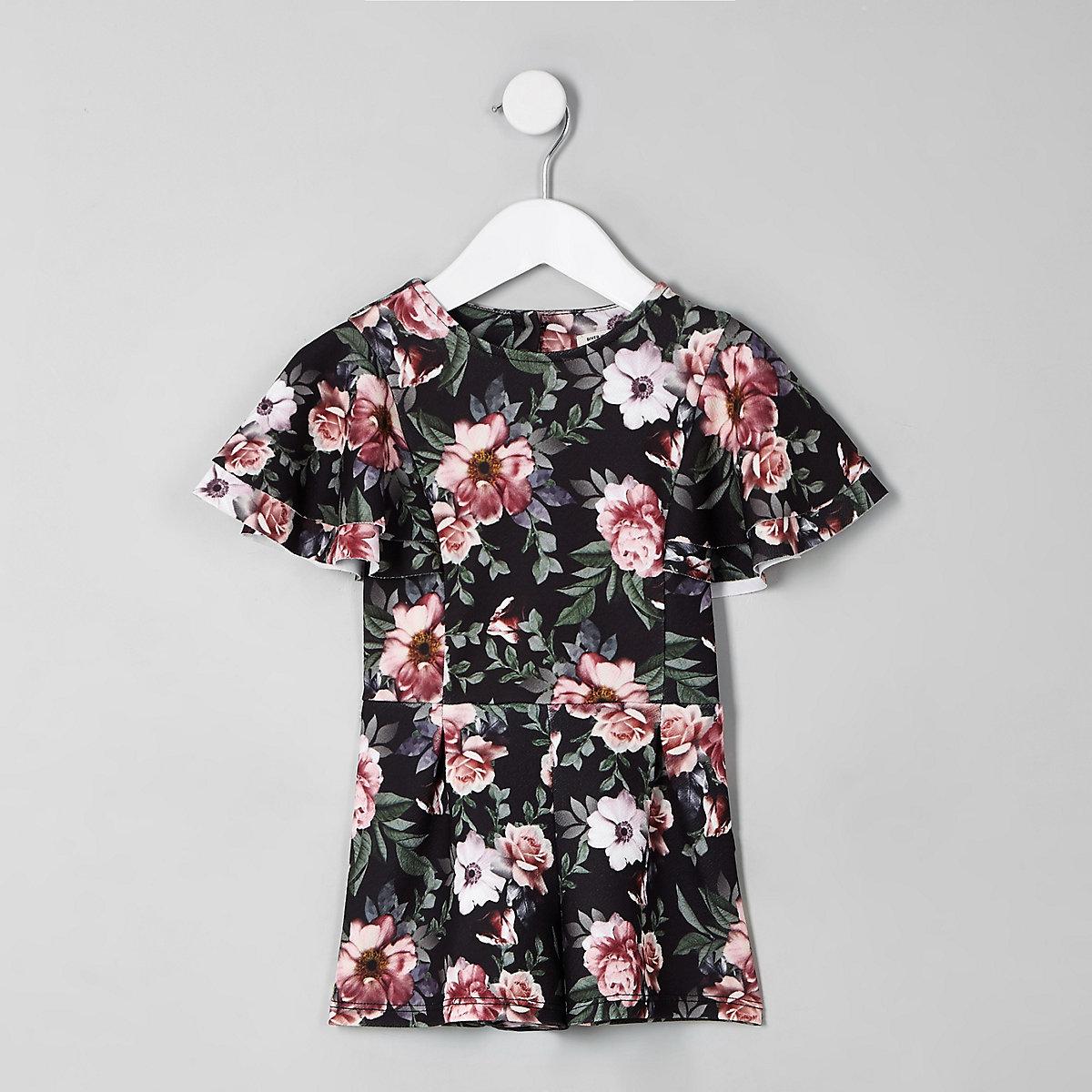 Mini girls black floral frill romper