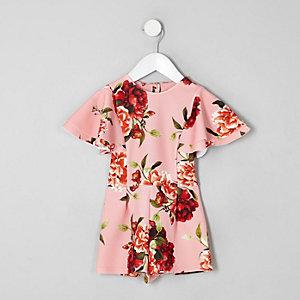 Combi-short à fleurs rose avec volants mini fille