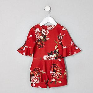 Combi-short à fleurs rouge style jupe-short avec volants mini fille