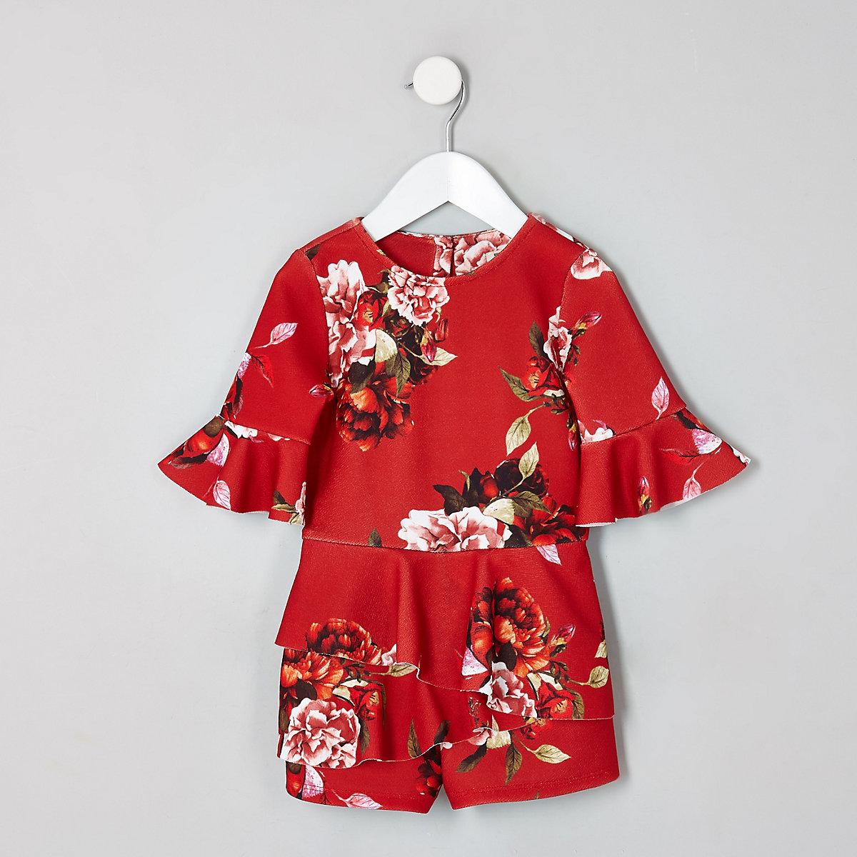 Mini girls red floral frill skort romper