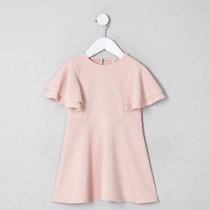 Mini girls pink frill skater dress