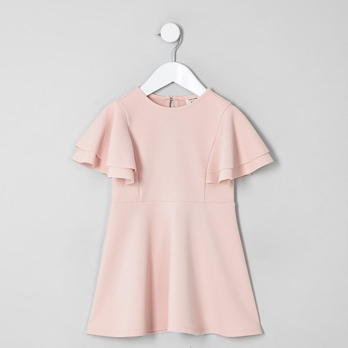 Mini girls pink frill skater dress