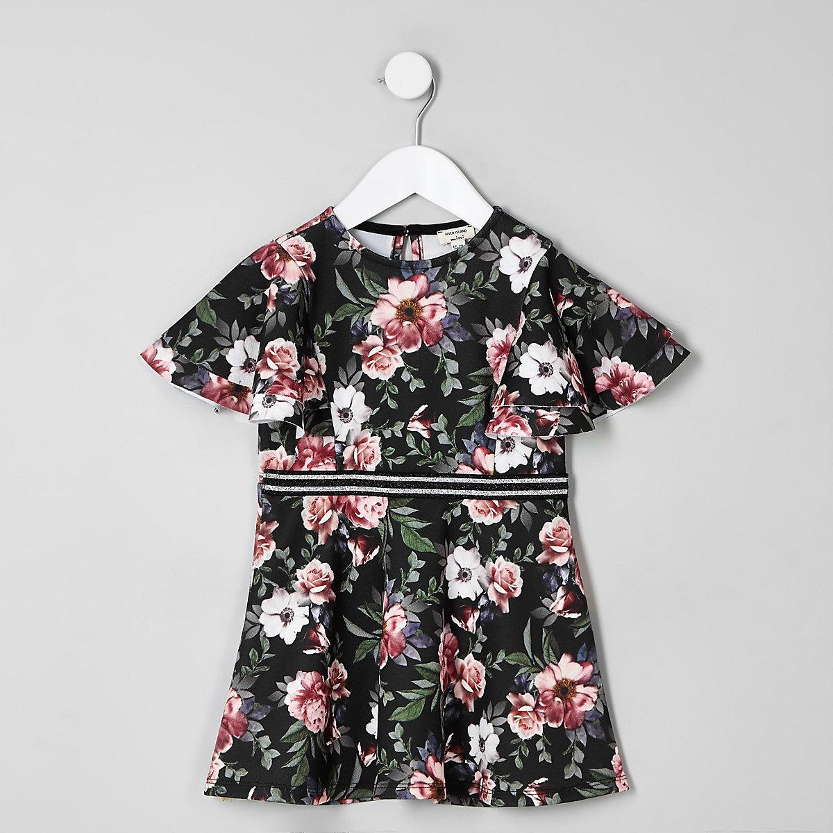 Mini girls black floral skater dress