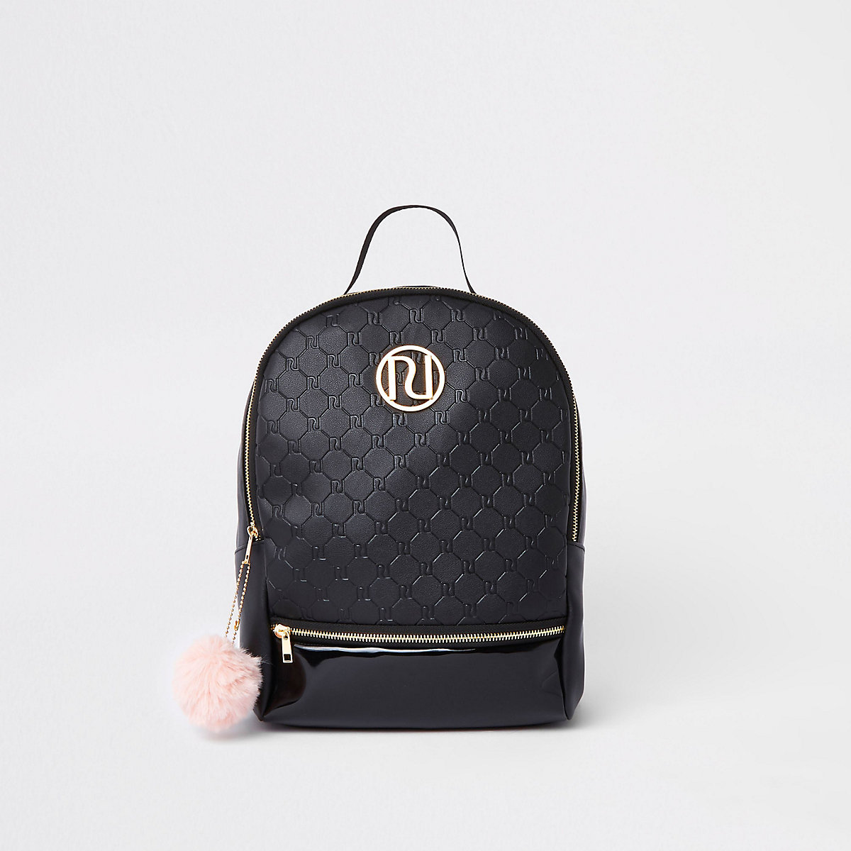 Girls black RI monogram backpack