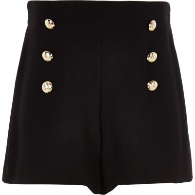 Girls Black Button Detail Shorts by River Island