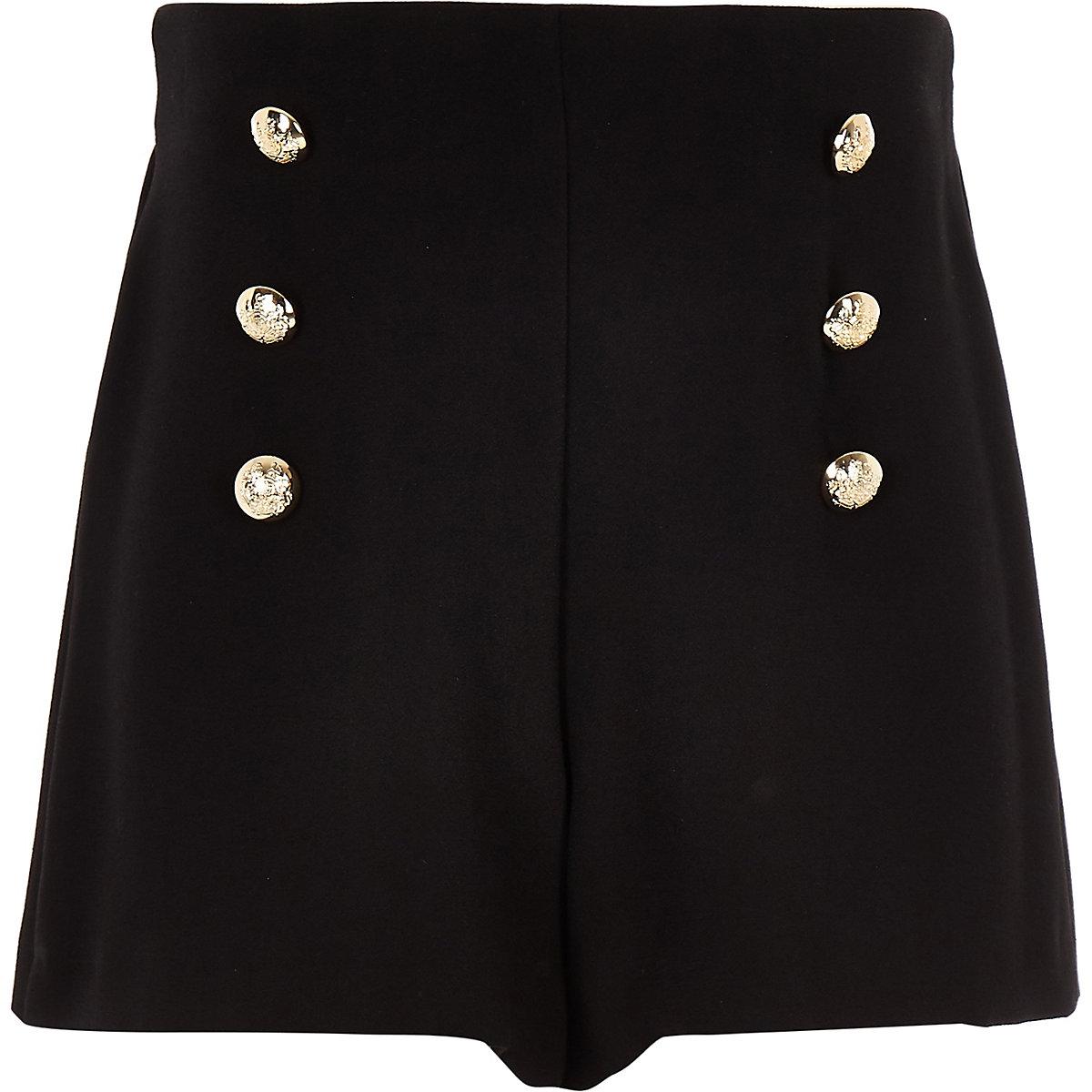 Girls black button detail shorts