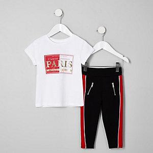Mini - Outfit met wit T-shirt met 'Paris'-print voor meisjes
