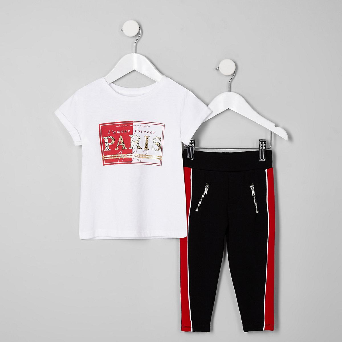 Mini girls white 'Paris' T-shirt outfit