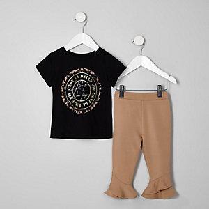 Mini - Outfit met zwart  T-shirt met 'La beaute'-print voor meisjes