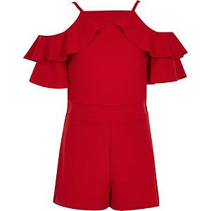 Girls red ruffle cold shoulder playsuit