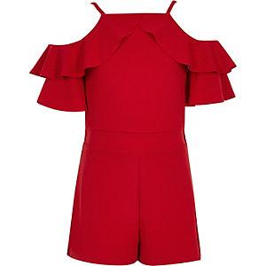 Combi-short rouge à épaules dénudées et volant pour fille