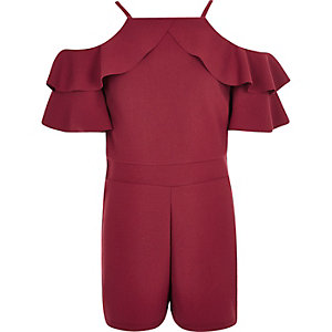 Girls burgundy ruffle cold shoulder romper