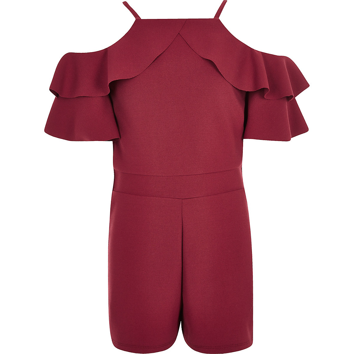Girls burgundy ruffle cold shoulder playsuit