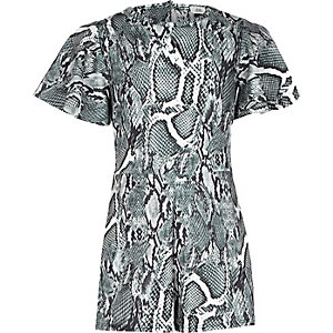 Girls grey snake print romper