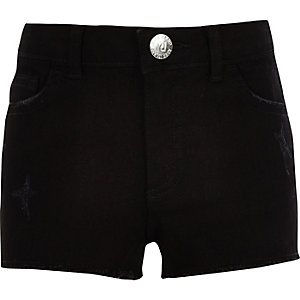 Girls black boyfriend denim shorts