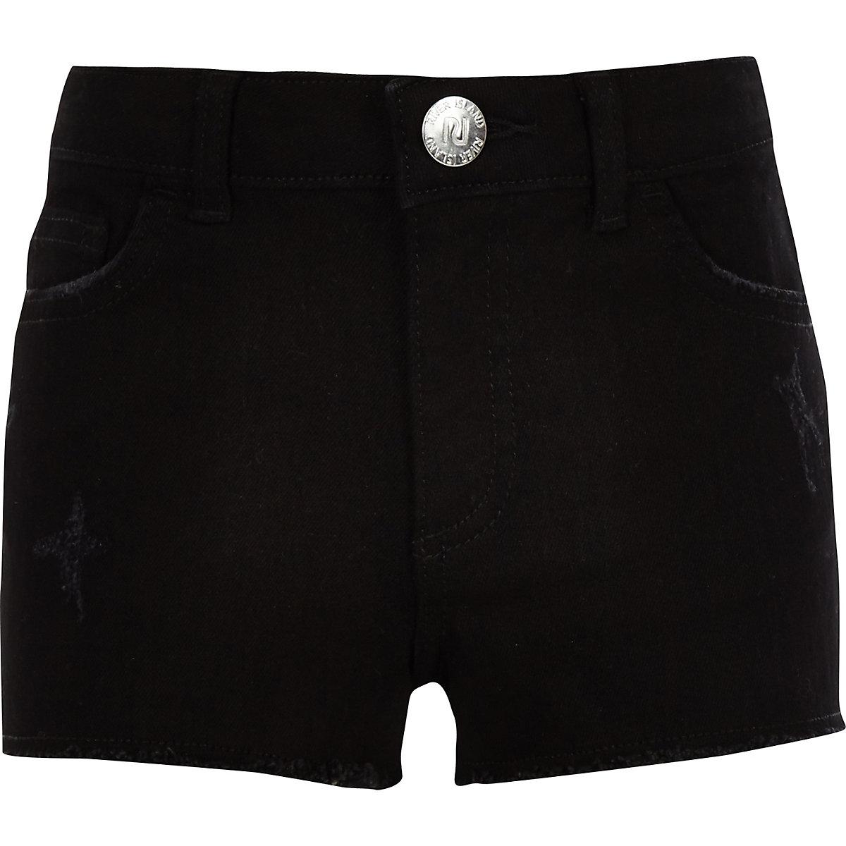 Girls black Becca boyfriend denim shorts