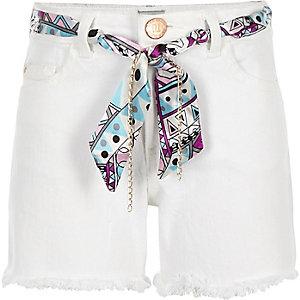 Witte denim short met sjaalceintuur voor meisjes