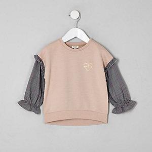 Mini - Beige sweatshirt met geruite mouwen voor meisjes