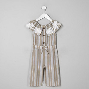 Mini girls beige stripe bardot jumpsuit