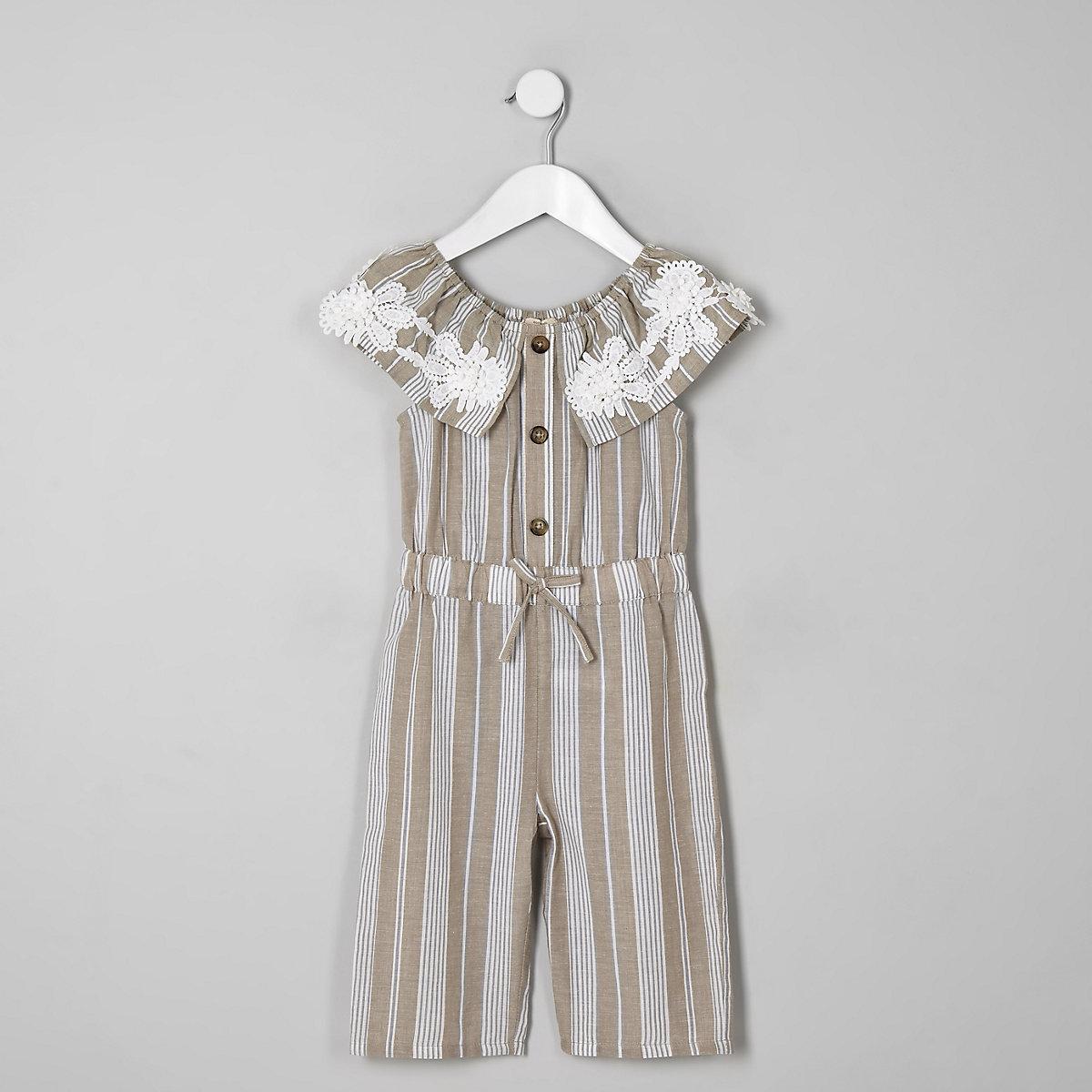 Mini girls beige stripe bardot jumpsuit