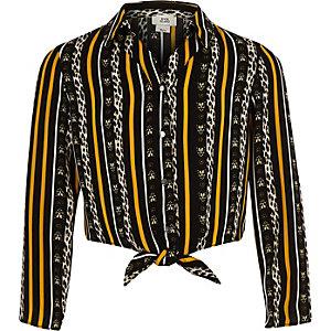 Girls black stripe tie front shirt