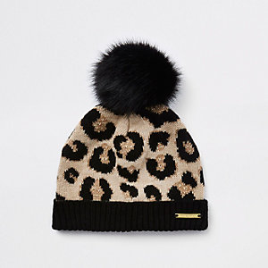 Mini girls brown leopard print beanie hat
