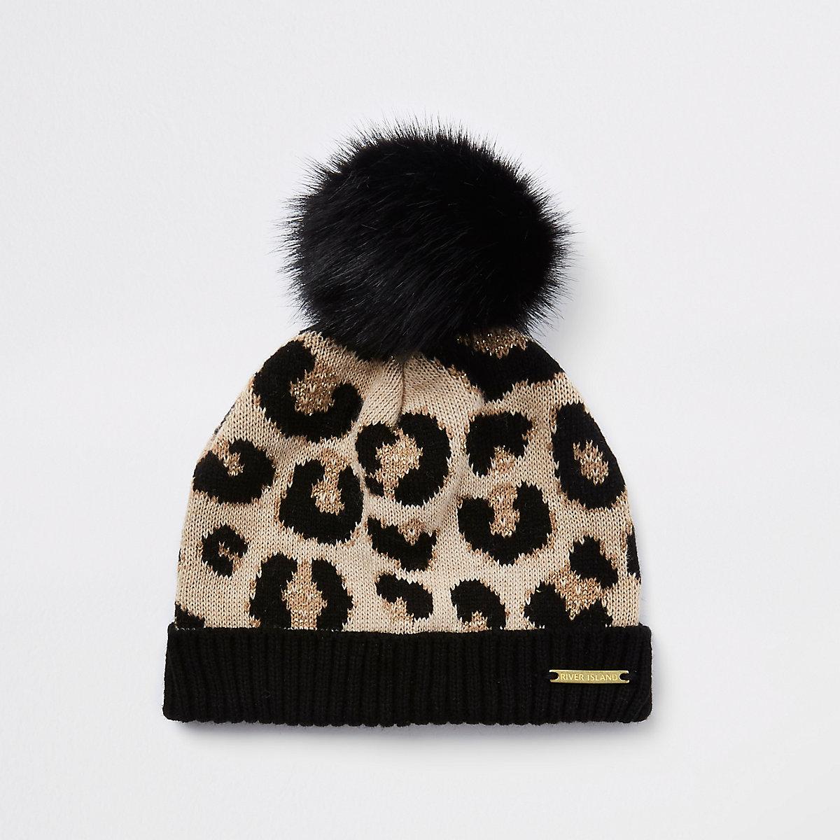 Mini girls brown leopard print beanie hat
