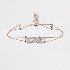 Girls gold 'love' diamante choker