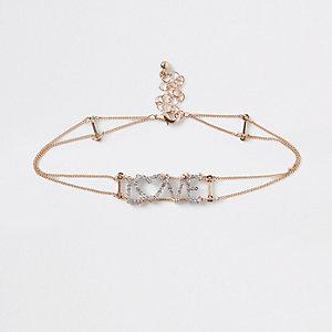 Goudkleurige 'love' chokerketting met diamantjes voor meisjes