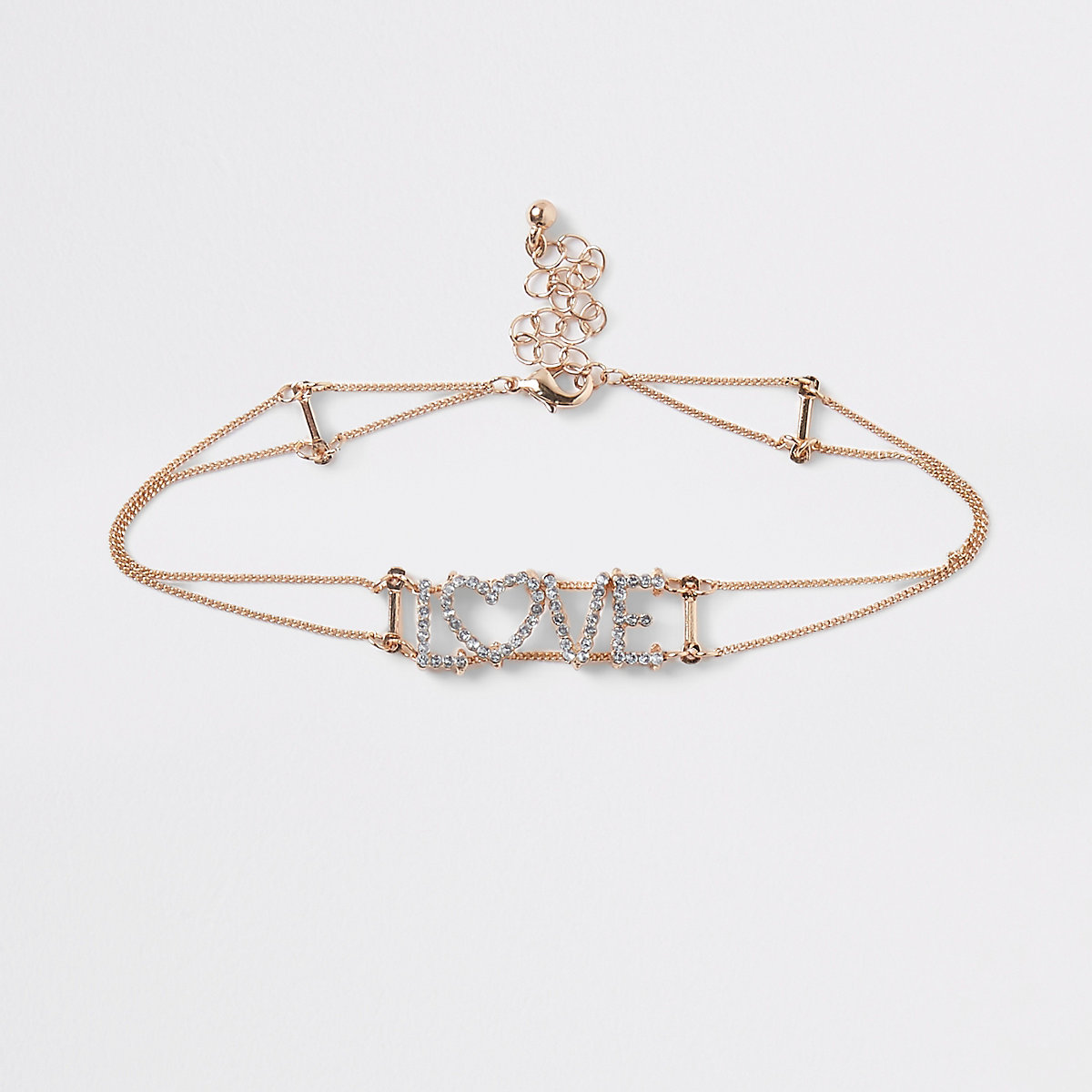 Girls gold 'love' rhinestone choker