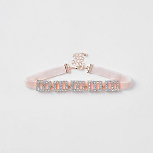 Girls pink square diamante choker