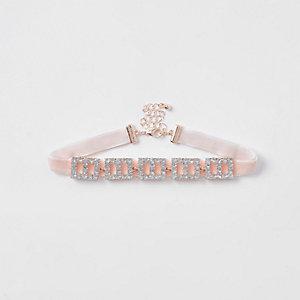 Collier ras-de-cou à strass carrés roses pour fille