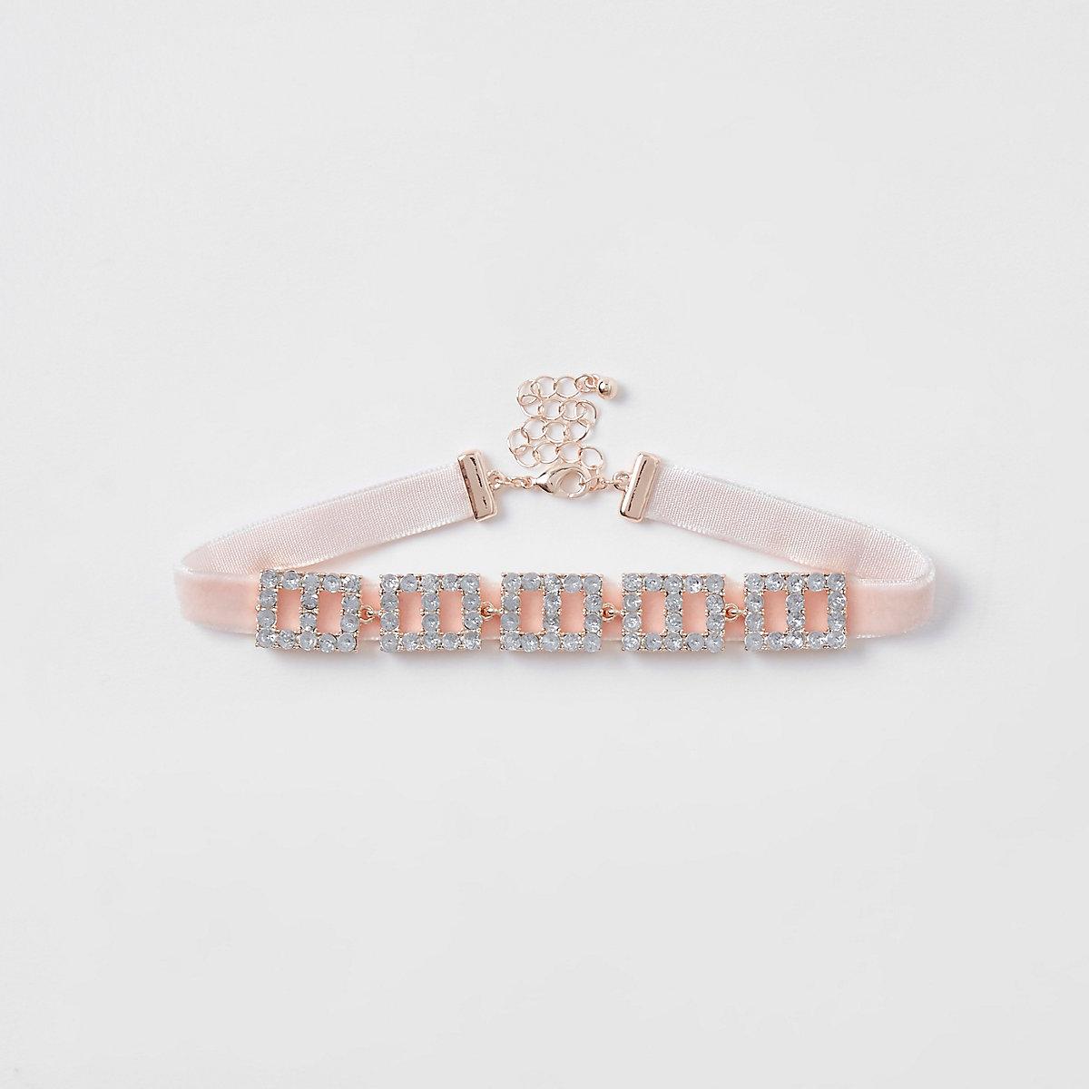 Girls pink square diamante choker