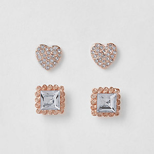 Girls rose gold tone heart earrings multipack