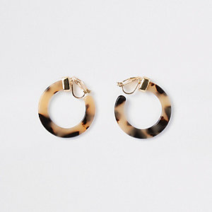 Girls leopard print hoop clip on earrings