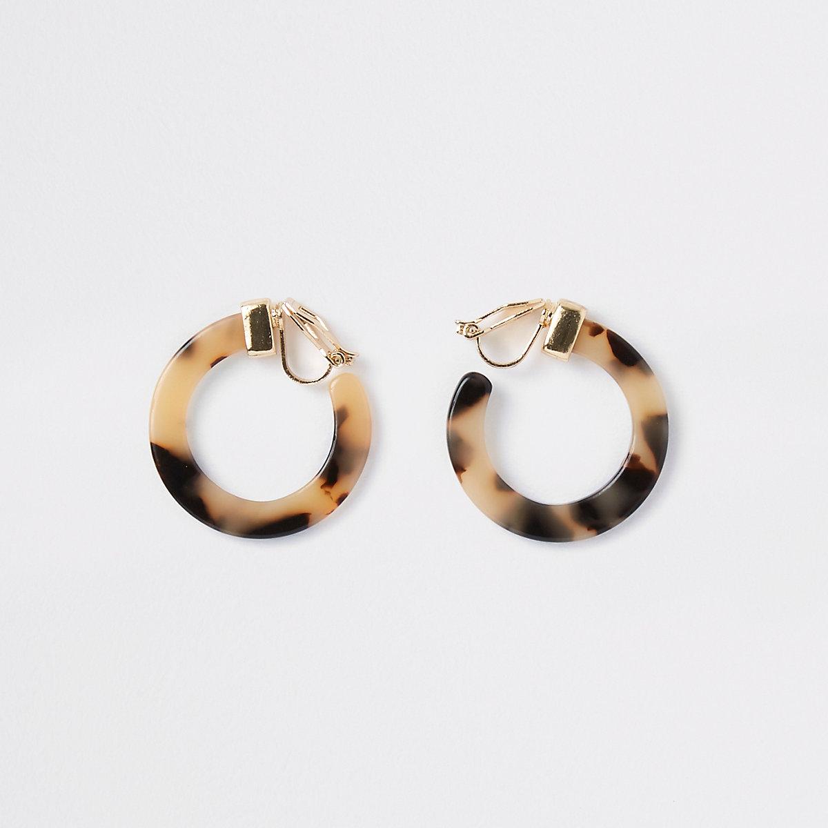 Girls leopard print hoop clip on earrings