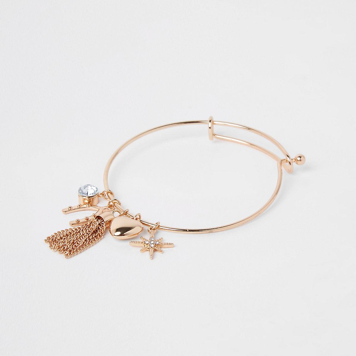 Girls gold charm bracelet