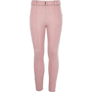 Girls pink houndstooth check leggings