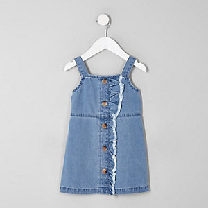 Robe chasuble en jean bleue mini fille