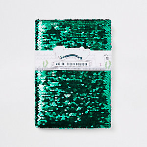 Girls green sequin unicorn note book