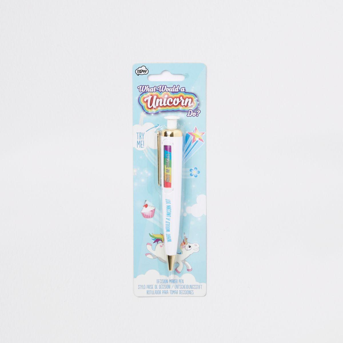 Girls white unicorn decision maker pen