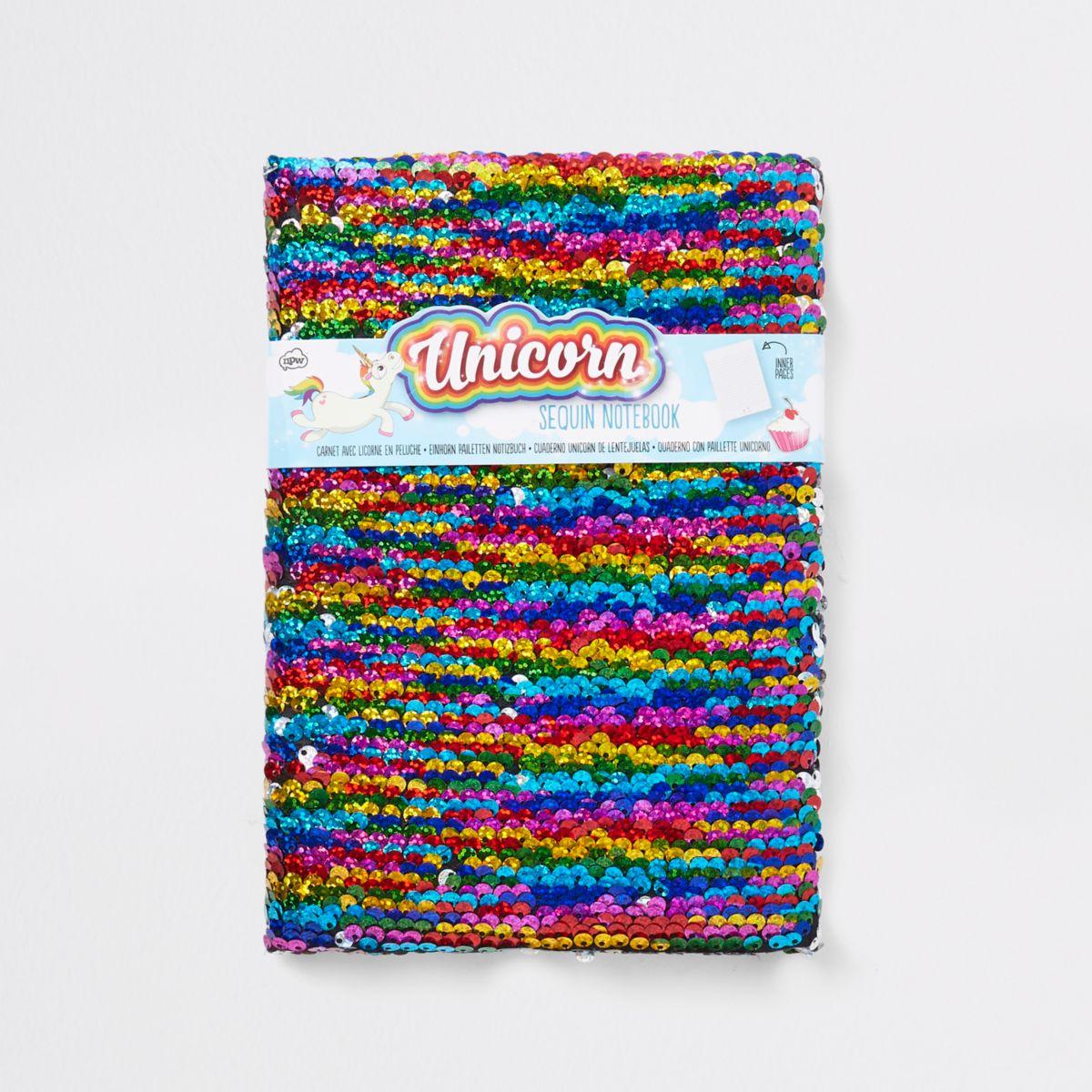 Girls multi colored sequin unicorn note book