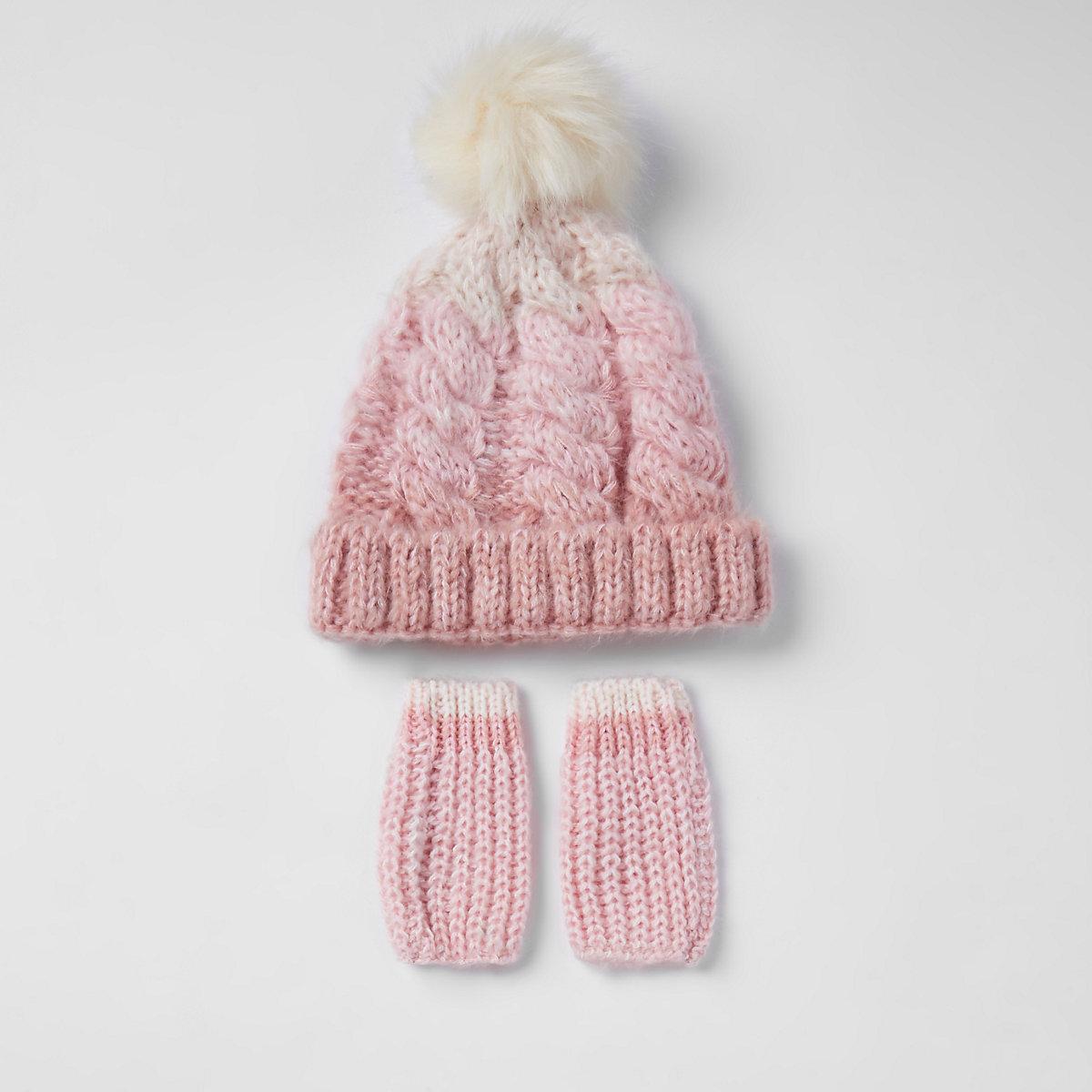 Mini girls pink knit faux fur beanie hat set