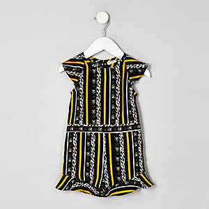 Mini girls yellow leopard stripe playsuit