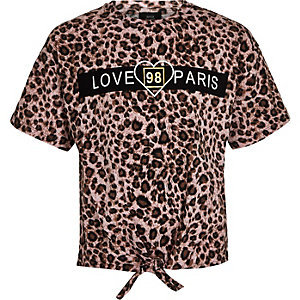 Girls brown leopard 'Love Paris' T-shirt