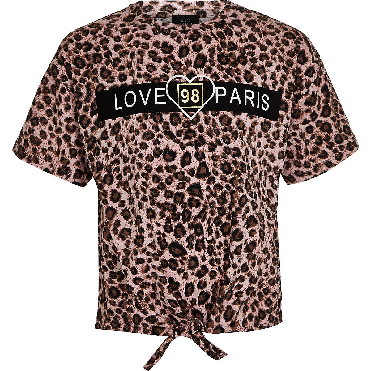 """c5d79ff33bdb8 Braunes T-Shirt """"Love Paris"""" - T-Shirts - Oberteile - Mädchen"""