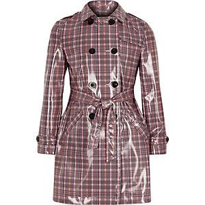 Roze geruite vinyl trenchcoat voor meisjes